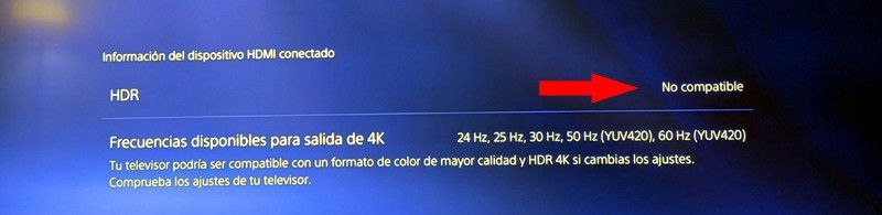 HDR No Compatible al configurar el 4K en una PS5