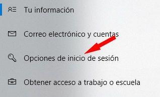 Opciones de inicio de sesión en Windows 10